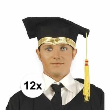 12x luxe afstudeerpet / geslaagd hoedje met gouden details