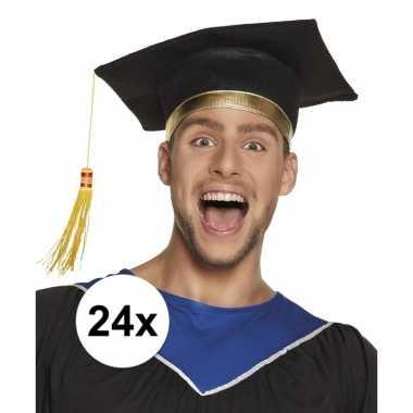 24x zwarte geslaagd hoedje / afstudeerhoed voor volwassenen