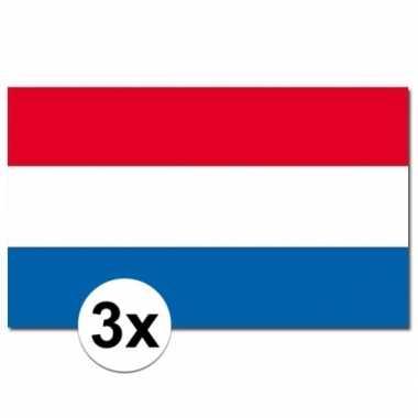 3x nederlandse vlaggen 90x150 cm
