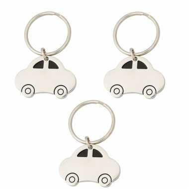 3x stuks auto sleutelhangers 4,5 cm