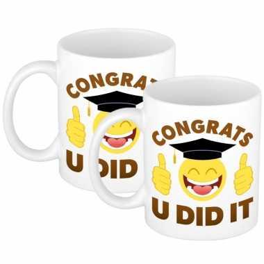 6x stuks congrats u did it geslaagd mok / beker cadeau 300 ml