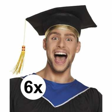 6x zwarte geslaagd hoedje / afstudeerhoed voor volwassenen