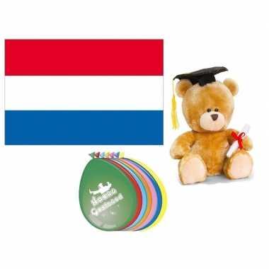 Afgestudeerd pakket inclusief vlag beer en ballonnen
