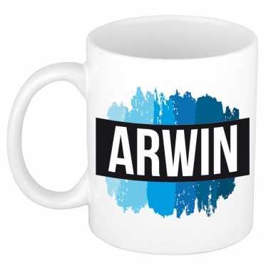 Arwin naam / voornaam kado beker / mok verfstrepen - gepersonaliseerde mok met naam