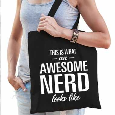 Awesome nerd cadeau tas zwart voor dames