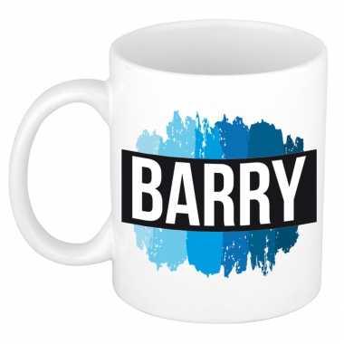 Barry naam / voornaam kado beker / mok verfstrepen - gepersonaliseerde mok met naam