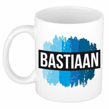 Bastiaan naam / voornaam kado beker / mok verfstrepen - gepersonaliseerde mok met naam