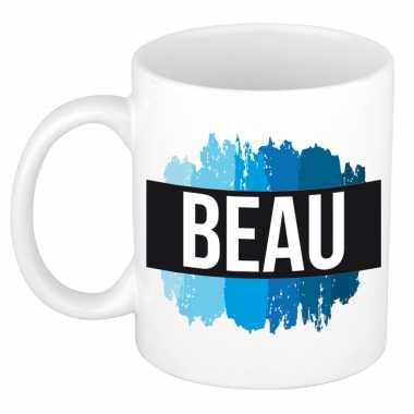 Beau naam / voornaam kado beker / mok verfstrepen - gepersonaliseerde mok met naam