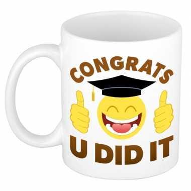 Congrats u did it geslaagd mok / beker cadeau 300 ml