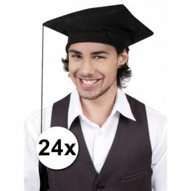 Geslaagd/ afstudeer hoedjes zwart 24x