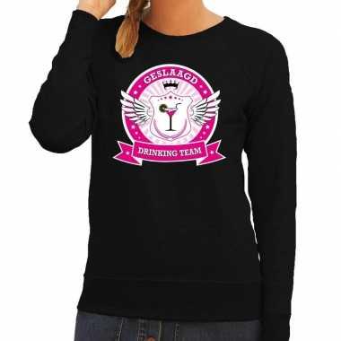 Geslaagd drinking team sweater zwart dames