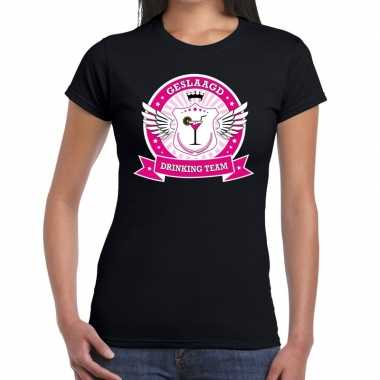 Geslaagd drinking team t-shirt zwart dames