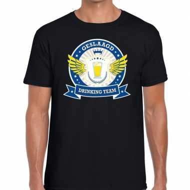 Geslaagd drinking team t-shirt zwart heren