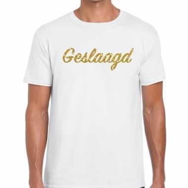 Geslaagd gouden letters fun t-shirt wit voor heren