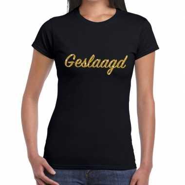 Geslaagd gouden letters fun t-shirt zwart voor dames