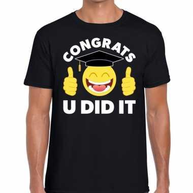 Geslaagd shirt congrats u did it zwart voor heren