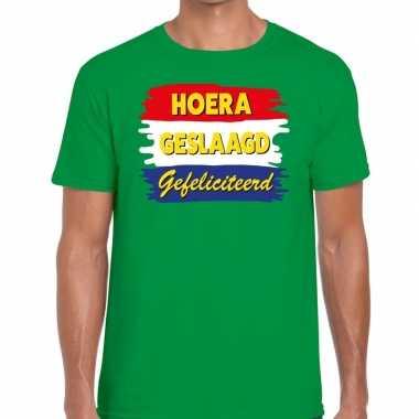 Hoera geslaagd gefeliciteerd groen fun-t shirt voor heren