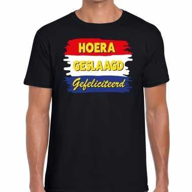 Hoera geslaagd gefeliciteerd zwart fun-t shirt voor heren