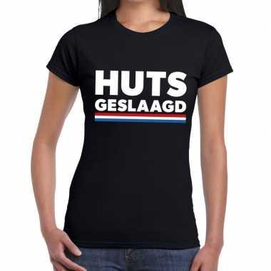 Huts geslaagd zwart fun-t shirt voor dames