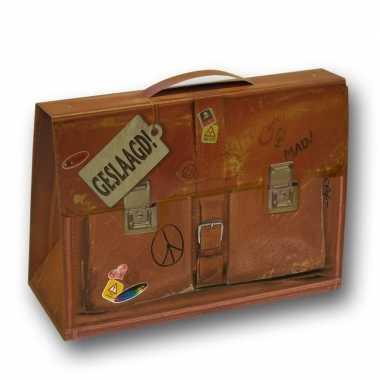 Kartonnen schooltasje geslaagd 19cm