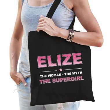 Naam elize the women, the myth the supergirl tasje zwart - cadeau boodschappentasje