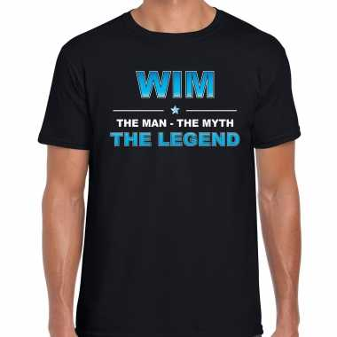 Naam wim the man, the myth the legend shirt zwart cadeau shirt