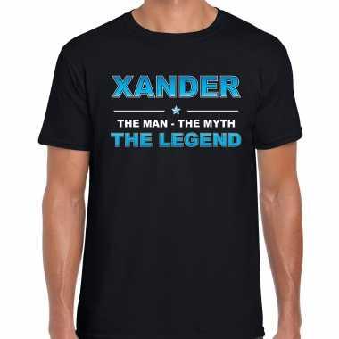 Naam xander the man, the myth the legend shirt zwart cadeau shirt