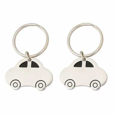 Pakket van 2x stuks auto sleutelhangers 4,5 cm