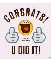 40x feest servetten emoticons smileys geslaagd diploma behaald 33 x 33 cm