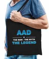 Naam aad the man the myth the legend tasje zwart cadeau boodschappentasje