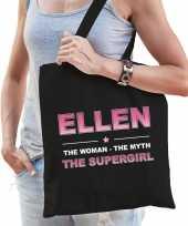 Naam ellen the women the myth the supergirl tasje zwart cadeau boodschappentasje