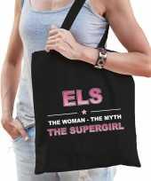 Naam els the women the myth the supergirl tasje zwart cadeau boodschappentasje