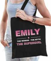 Naam emily the women the myth the supergirl tasje zwart cadeau boodschappentasje