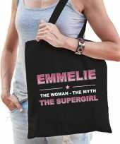 Naam emmelie the women the myth the supergirl tasje zwart cadeau boodschappentasje