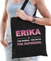 Naam erika the women the myth the supergirl tasje zwart cadeau boodschappentasje