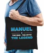 Naam manuel the man the myth the legend tasje zwart cadeau boodschappentasje