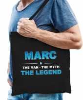 Naam marc the man the myth the legend tasje zwart cadeau boodschappentasje