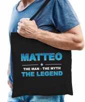 Naam matteo the man the myth the legend tasje zwart cadeau boodschappentasje