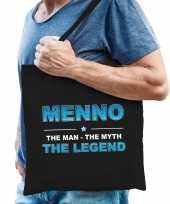 Naam menno the man the myth the legend tasje zwart cadeau boodschappentasje
