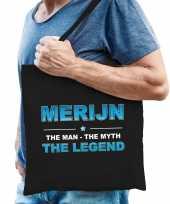 Naam merijn the man the myth the legend tasje zwart cadeau boodschappentasje