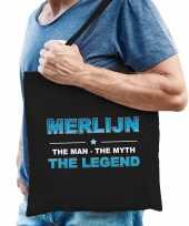Naam merlijn the man the myth the legend tasje zwart cadeau boodschappentasje