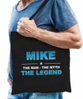 Naam mike the man the myth the legend tasje zwart cadeau boodschappentasje