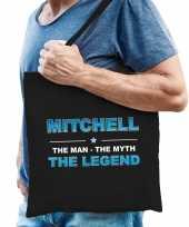 Naam mitchell the man the myth the legend tasje zwart cadeau boodschappentasje