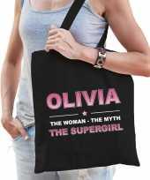 Naam olivia the women the myth the supergirl tasje zwart cadeau boodschappentasje
